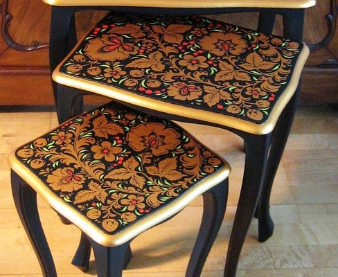 Superbe Set Of Three Side Tables (The Biedermeier Period), Painted In Traditional  Russian Khokhloma Style. Dimensions: 53 X 33 X 60 Cm, 42 X 32 X 54 Cm, ...